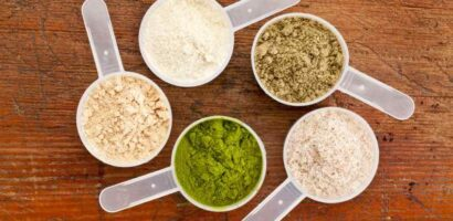 plant based protein powders in scoop